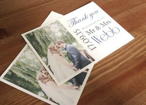 Wedding thank you cards post card style with photo x 20