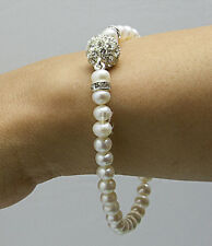 Freshwater Pearl Bracelet with S/ Silver Rhinestone Beads &  Magnetic Clasp