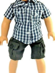 "Plaid Short Set Fits 18"" American Girl Boy Doll Clothes 2pc"