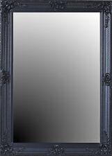 Miroir Mural Baroque Déco 109cm Ancien de Sale Bain Cadre Noir