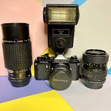 Pentax me Super Black Body 35mm SLR Camera Kit Working Order + 3 Lens CLAD Lomo