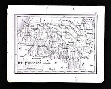 1833 Perrot Tardieu Map - Basses Pyrenees - Orthez Bayonne Oloron Mauleon France