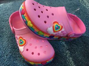 NEW Kids Crocs Light Up  Pink Hearts J3. carnation