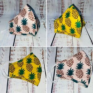 Cotton Face Mask Covering Pineapple Design Cotton Fabric Reuse Pink or Yellow🍍