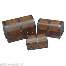 SET/3 DOMED BOXES STORAGE PIRATE CHESTS TRINKETS/JEWELLERY HAND CRAFTED WOOD