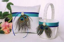 Peacock Feather White Satin Wedding Flower Girl Basket and Ring Pillow Set N5