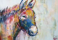 A3 canvas print poster painting art  by Andy Baker stag  COA donkey Australia
