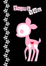Skelanimals Dee Deer Thank You Cute Skeleton Animals Gothic A6 Postcard Card