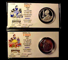 DISNEY 1/2 Oz .999 Fine Silver Rounds w/ COA ~ TWO COINS = DOPEY & HAPPY