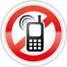 "Ban Stop Sign No Mobile Phones Car Bumper Sticker Decal 5"" x 5"""