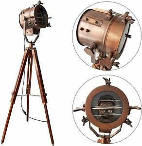Antique Copper Mid Century Searchlight Focus Tripod Floor Lamp Standing Wooden