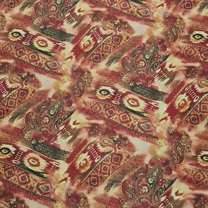 """Crinkled Crepe Fabric Ikat And Paisley Printed 55"""" Wide Sold By The Metre"""