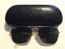 Vintage B&L Ray Ban 58 15 Green Shooter Aviator Sunglasses With Case