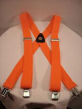 New, Men's, Hunter Orange 1.5 In., XL, Adj. Suspenders / Braces,  Made in USA