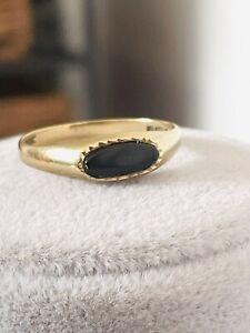 VINTAGE 9 CT ROSE GOLD SIGNET RING BLACK ONYX RING RARE SIZE L STYLISH ENGLISH