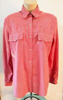 Vtg 80's LEVI'S Red Check GINGHAM Western Shirt Pearl Snaps Women's Jr. LARGE