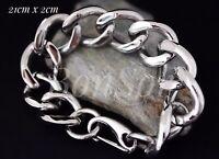 Edelstahl Herren Armband Biker Armkette Panzerarmband Massiv XL groß Silber