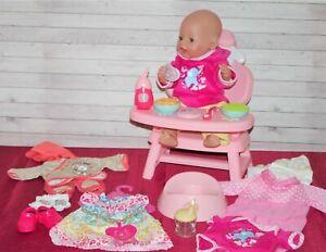 Baby Born  Mädchen v. Zapf , 43 cm mit Lunch-Tisch und viel schönem Zubehör