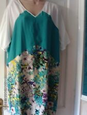WHITE AND TURQUOISE DRESS BY WALLIS, SIZE 14
