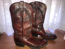 Vintage Lucchese Boots Dark Red/Brown San Antonio Mens Size 9D Western 1868