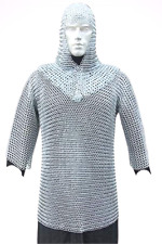 Medieval Chain Mail Shirt and Coif Armor Set (Mild Steel Shirt) Size Medium