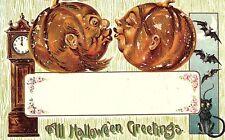 C.1907 Anthropomorphic Hairy Pumpkins, Black Cat, Bats, Halloween Postcard P123