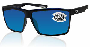Costa Del Mar Rincon Shiny Black Frame Blue Mirror 580 Glass Polarized Lens