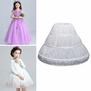 Child Kid Crinoline Petticoat A-Line 3 Hoops Flower Girls Underskirts 2-14 Dress