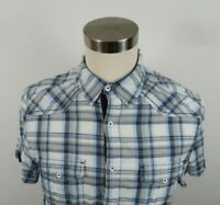 Express Mens Cotton Fitted SS Button Down Blue White Plaid Casual Dress Shirt L