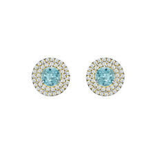 CLUSTER 14K YELLOW GOLD FN 925 STERLING SILVER ROUND BLUE AQUAMARINE EARRINGS CZ