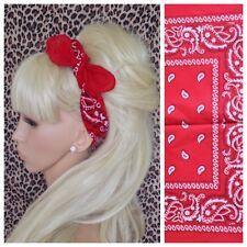 Neuf en coton Rouge Paisley Bandana Tête Cheveux Foulard rockabilly pin up urban 50 S