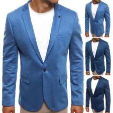 Traje de chaqueta de hombre azul de poliéster
