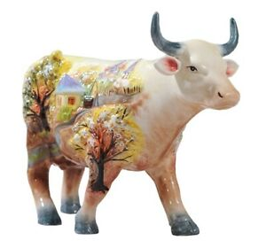 Porcelain Cow Statue Hand Paint Ceramic Bull Figurine Animal Collectible Decor
