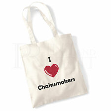 'I love (Heart) Chainsmokers' Cotton Canvas Reusable Shopping Tote Bag