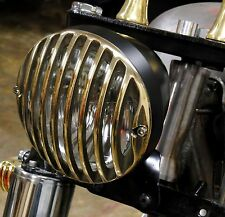 "6.5"" RODDER HEADLIGHT FINNED GRILLED BRASS & BLACK HARLEY XS650 BOBBER CHOPPER"