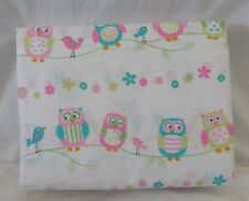 CYNTHIA ROWLEY PINK BLUE GREEN PASTEL OWLS BIRDS TWIN SHEET SET GIRLS