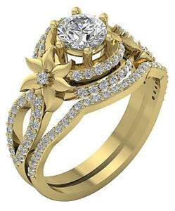 Designer Bridal Ring Set SI1 G 1.55 Carat Natural Round Diamond 14k Solid Gold