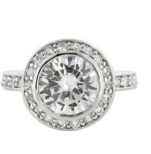 6 TCW Round Halo Bezel Set CZ Bridal Engagement Wedding Cocktail Ring Size 9