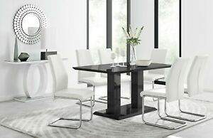 IMPERIA Black High Gloss Dining Table Set & 6 Chrome Faux Leather Dining Chairs