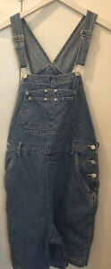 Denim & Co. Women's Size Large Jean Shorts Bib Overalls Shortalls