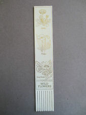 BOOKMARK LEATHER Wild Flowers Daisy Poppy Dog Rose White / Gold