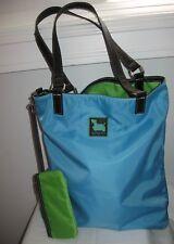 SYDNEY LOVE Reversible nylon tote bag scottie dog green blue with change purse