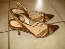 COLE HAAN LIGHT BROWN PATENT LEATHER & SUEDE LOW HEEL SLINGBACK PUMPS 8B