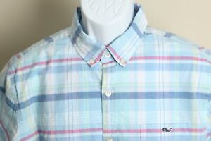 Vineyard Vines Men's blue, white and pink plaid Slim Fit short sleeves shirt L