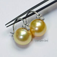 14k Solid White Gold 12.5mm Golden South Sea Pearl Basket Earrings
