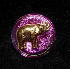Large Vintage Iridescent & Gold Elephant Glass Button #1001