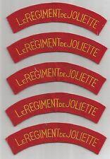 """LOT OF 5 CANADA """"LE REGIMENT DE JOLIETTE"""" TABS/PATCHES (M/P 1760)"""