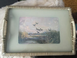 VINTAGE KITSCH DINNER COFFEE TEA TRAY  FLYING DUCKS PICTURE 1950s