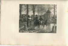 ANTIQUE EQUESTRIAN HUNTING PARTY HUNTER HOUND DOG FOUNTAIN DRINKING NATURE PRINT