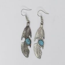 Silver Plated Turquoise Feather Long Drop Hook Dangle Wire Earrings - New